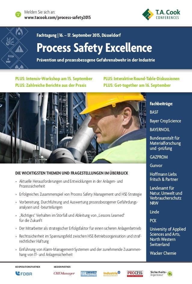 World Class Process Safety Management 2013 Fachbeiträge: BASF Bayer CropScience BAYERNOIL Bundesanstalt für Materialforsch...