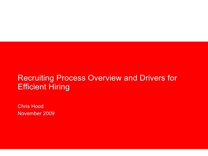 Recruiting Process Overview and Drivers for Efficient Hiring Chris Hood November 2009
