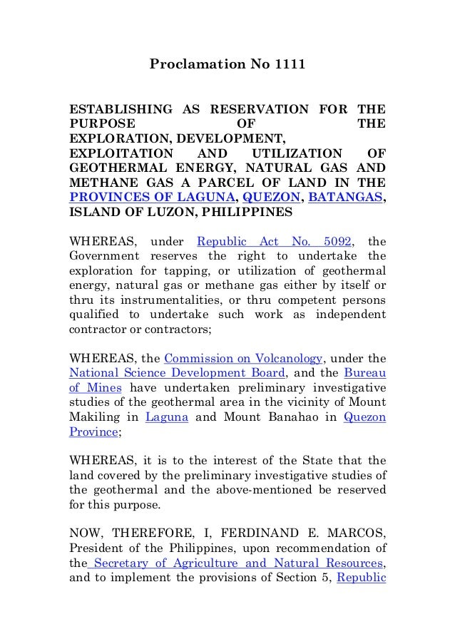 Proclamation No 1111ESTABLISHING AS RESERVATION FOR THEPURPOSE OF THEEXPLORATION, DEVELOPMENT,EXPLOITATION AND UTILIZATION...