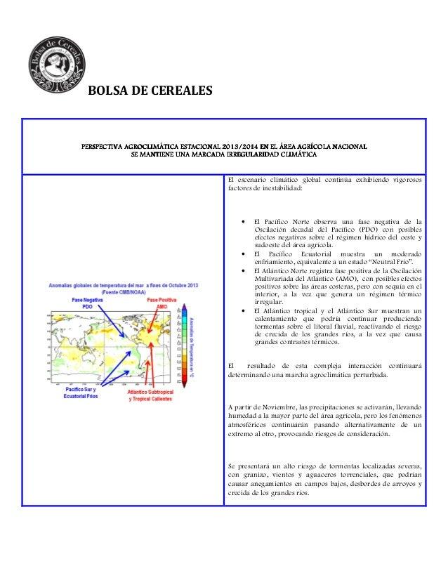 Perspectiva agroclimática estacional 2013/2014 en el área agrícola nacional