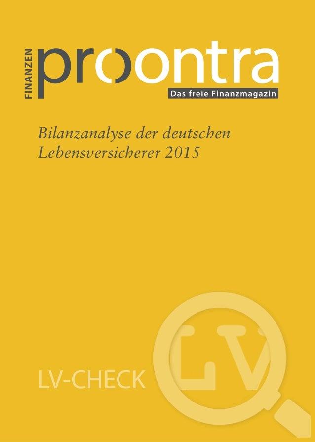LV-CHECK Neuzugang Bilanzanalyse der deutschen Lebensversicherer 2015 LV-CHECK