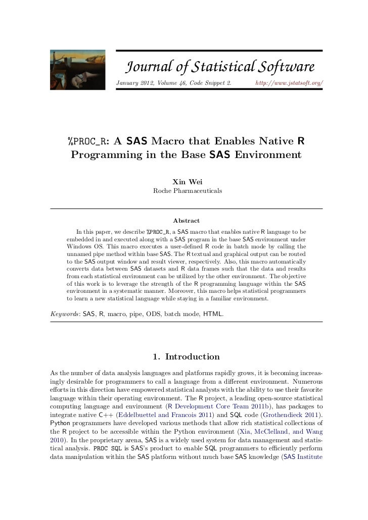 JSS                        Journal of Statistical Software                        January 2012, Volume 46, Code Snippet 2....