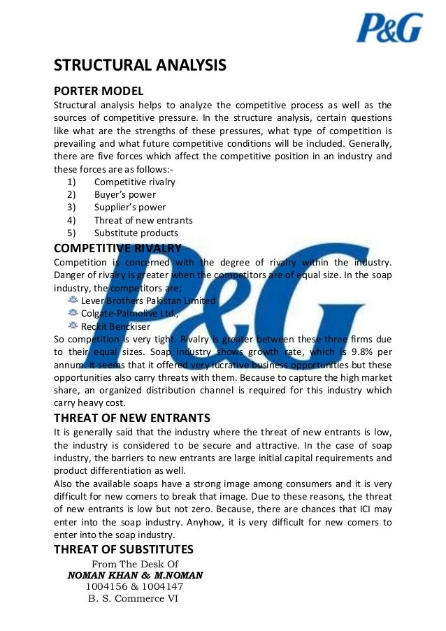 five forces model of procter and gamble essays A five forces analysis of procter & gamble suggests that despite p&g's success, there is always room for profits to soar or wane as p&g does not enjoy a monopoly over the many basic consumer goods it produces, the threat of substitute products or services is always present.