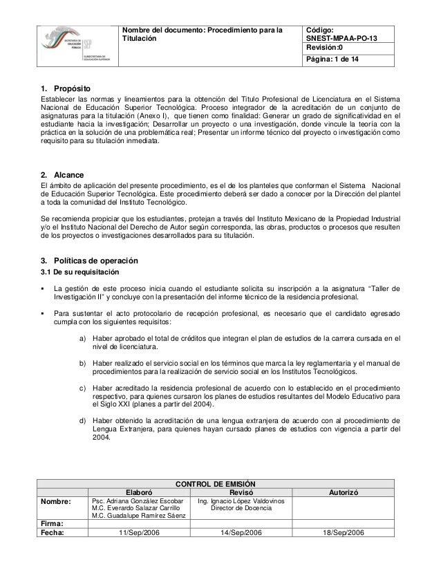 Código:Nombre del documento: Procedimiento para la SNEST-MPAA-PO-13 Revisión:0 Titulación Página: 1 de 14 CONTROL DE EMISI...
