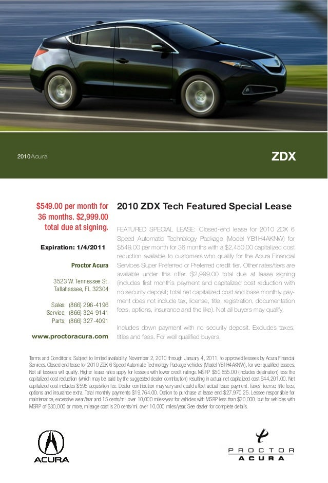 2010 ZDX Tech Featured Special Lease Proctor Acura Tallahassee FL