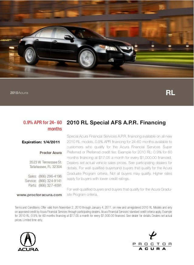 2010Acura RL 0.9% APR for 24- 60 months 2010 RL Special AFS A.P.R. Financing Special Acura Financial Services A.P.R. finan...