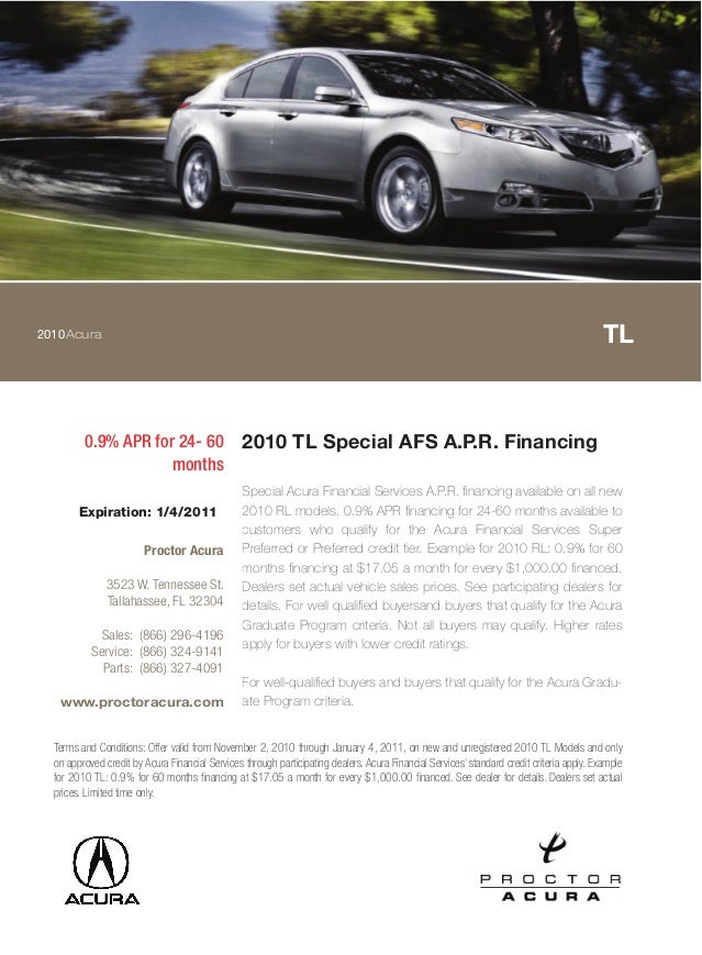 2010 TL Special AFS A.P.R. Financing Proctor Acura Tallahassee FL