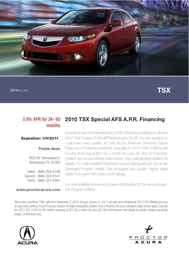 2010 Acura TSX Special AFS A.P.R. Financing Proctor Acura Tallahassee FL