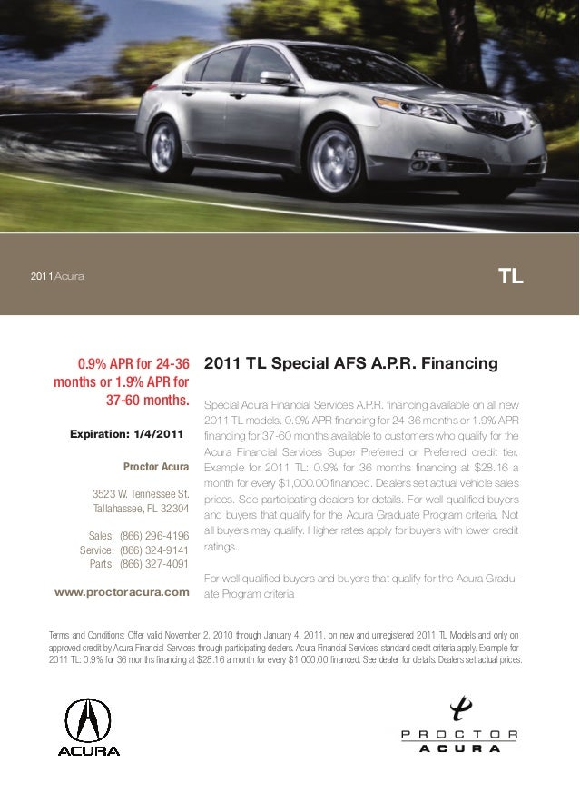 2011Acura TL 0.9% APR for 24-36 months or 1.9% APR for 37-60 months. 2011 TL Special AFS A.P.R. Financing Special Acura Fi...