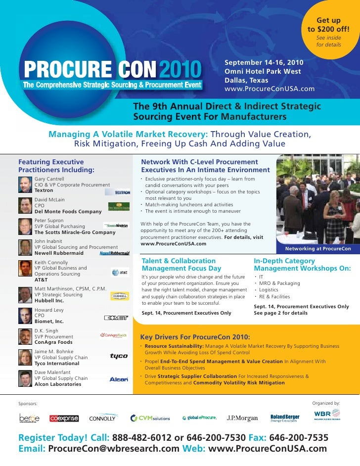 ProcureCon 2010 Brochure-Managing A Volatile Market Recovery - Manufacturing Material Management