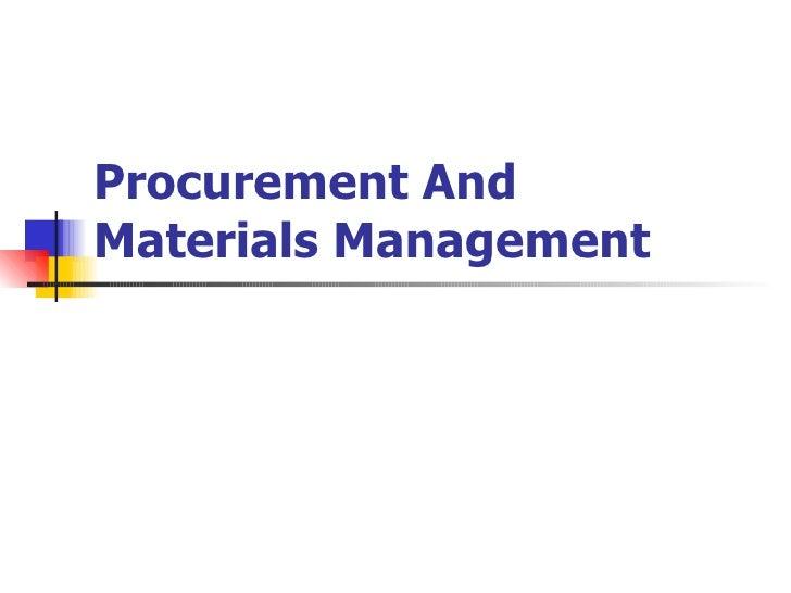 Procurement And Materials Management