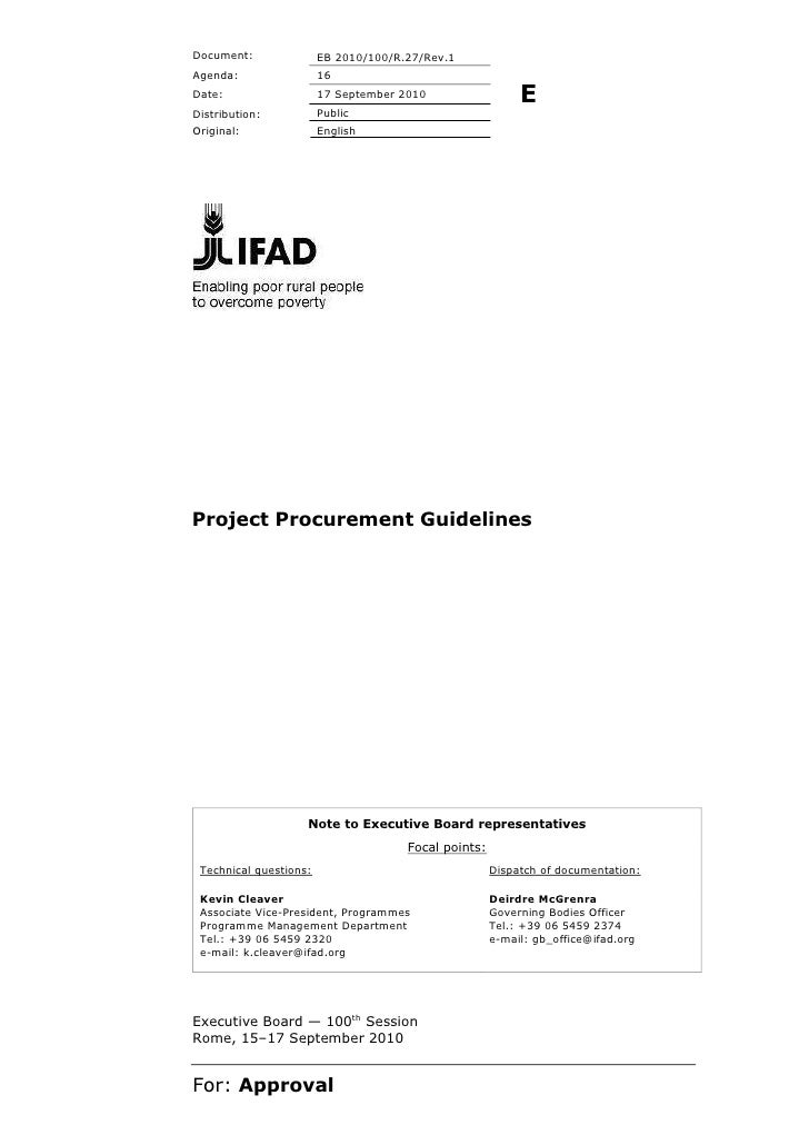 IFAD Project Procurement guidelines 2011