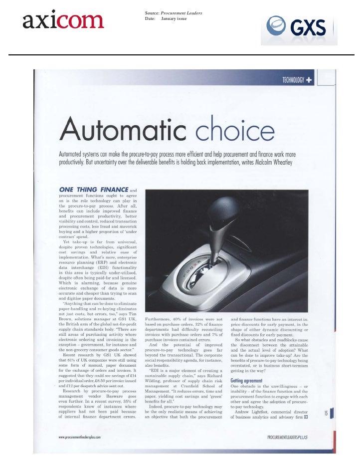 Procurement Leaders - Automatic Choice - ERP B2B Integration