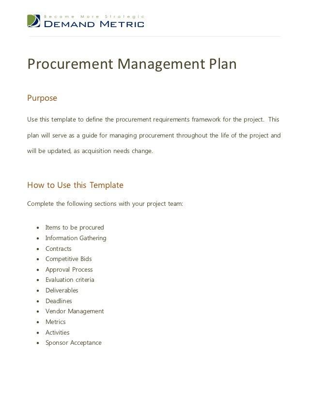 Procurement management plan for Demand management plan template