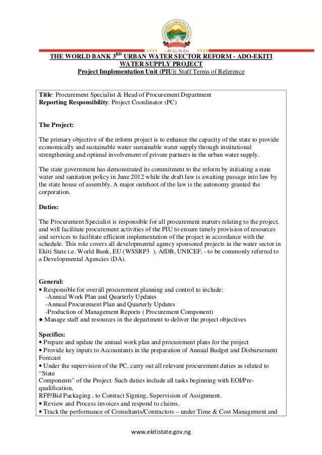 www.ekitistate.gov.ngTHE WORLD BANK 3RDURBAN WATER SECTOR REFORM - ADO-EKITIWATER SUPPLY PROJECTProject Implementation Uni...