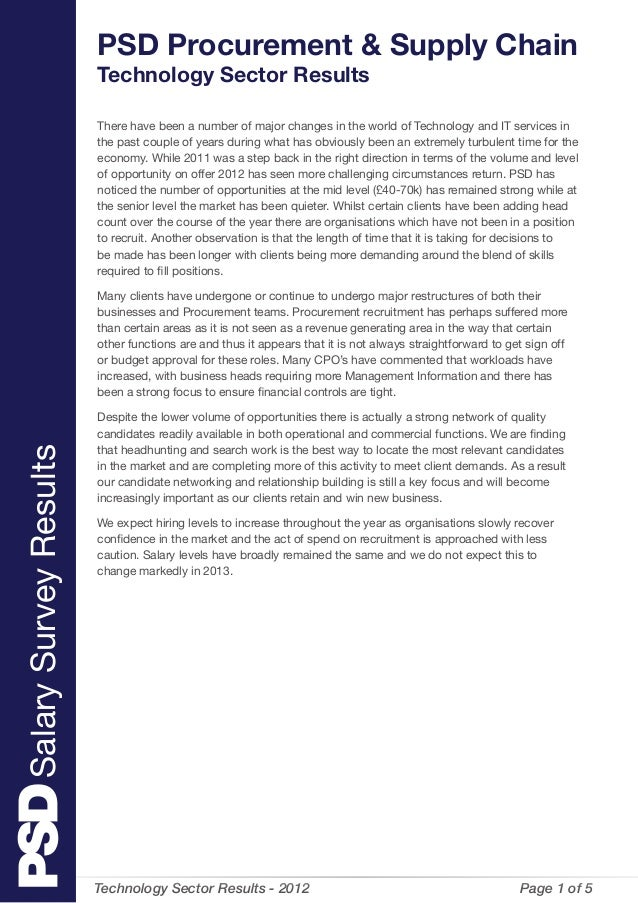 Technology Sector Results - 2012  Page 1 of 5 There have been a number of major changes in the world of Technology and IT...