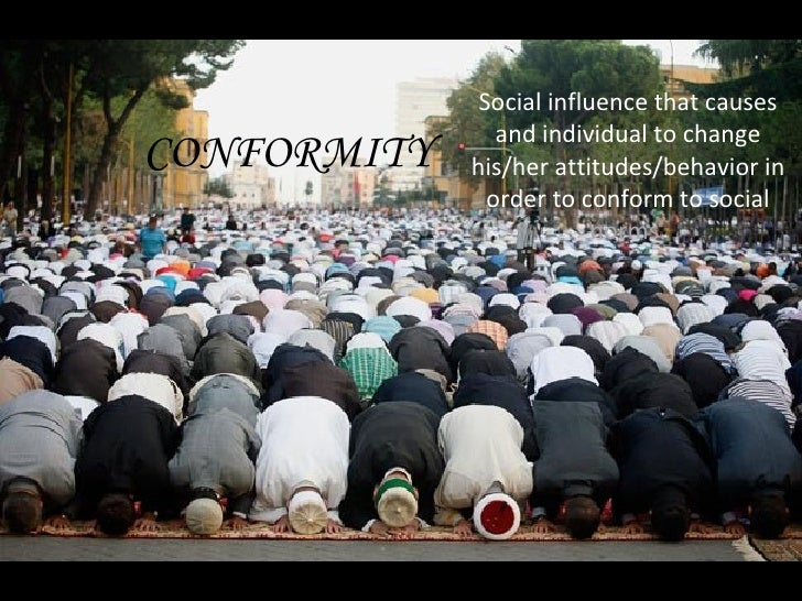 Social influence that causes and individual to change his/her attitudes/behavior in order to conform to social  norms. CON...