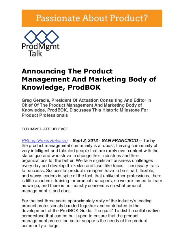 Product Management And Marketing Body of Knowledge, ProdBOK: September 9, 2013 Broadcast & Webcast