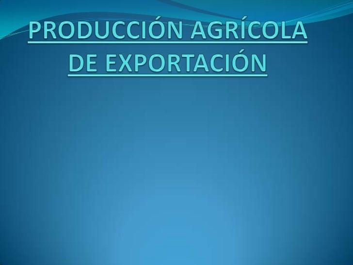 PRODUCCIÓN AGRÍCOLA DE EXPORTACIÓN<br />