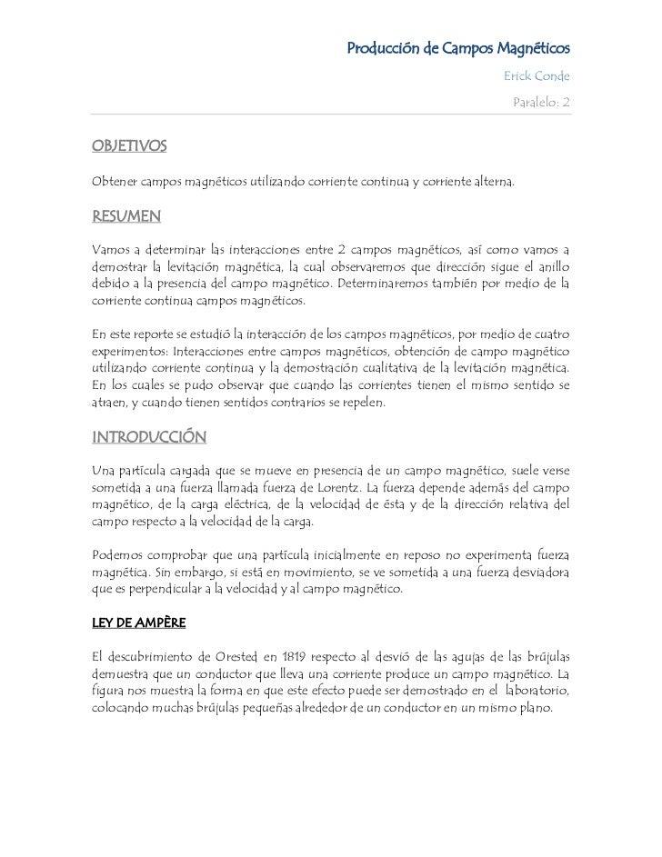 Producción de Campos Magnéticos                                                                           Erick Conde     ...