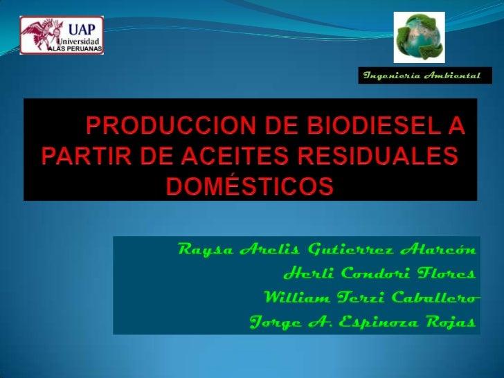 Ingeniería AmbientalRaysa Arelis Gutierrez Alarcón          Herli Condori Flores        William Terzi Caballero       Jorg...
