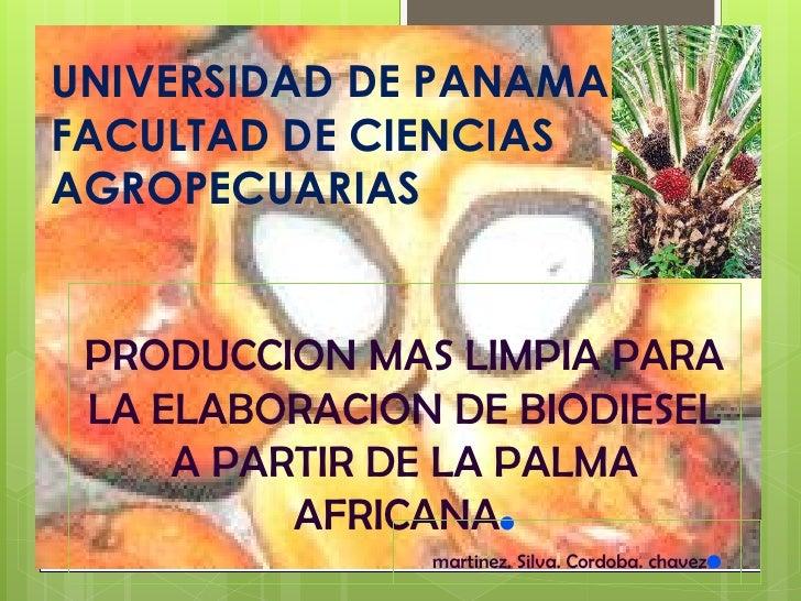 UNIVERSIDAD DE PANAMA FACULTAD DE CIENCIAS AGROPECUARIAS    PRODUCCION MAS LIMPIA PARA  LA ELABORACION DE BIODIESEL      A...