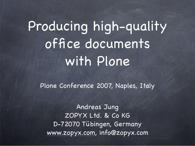 Producing high-quality documents with Plone