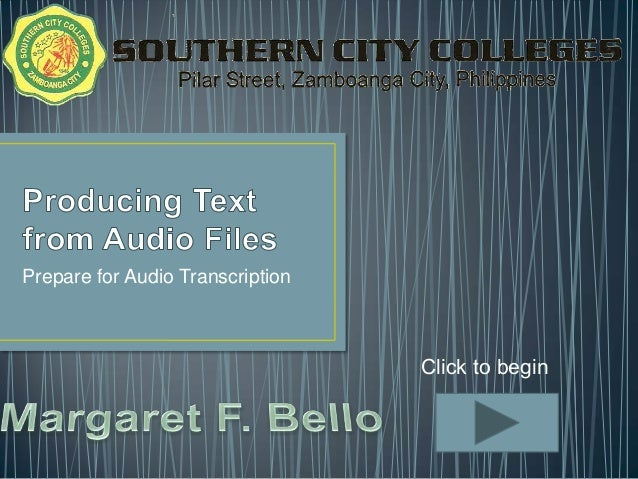 Producing text from audio files   lo1