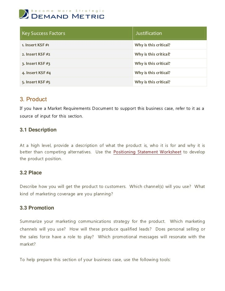business justification template