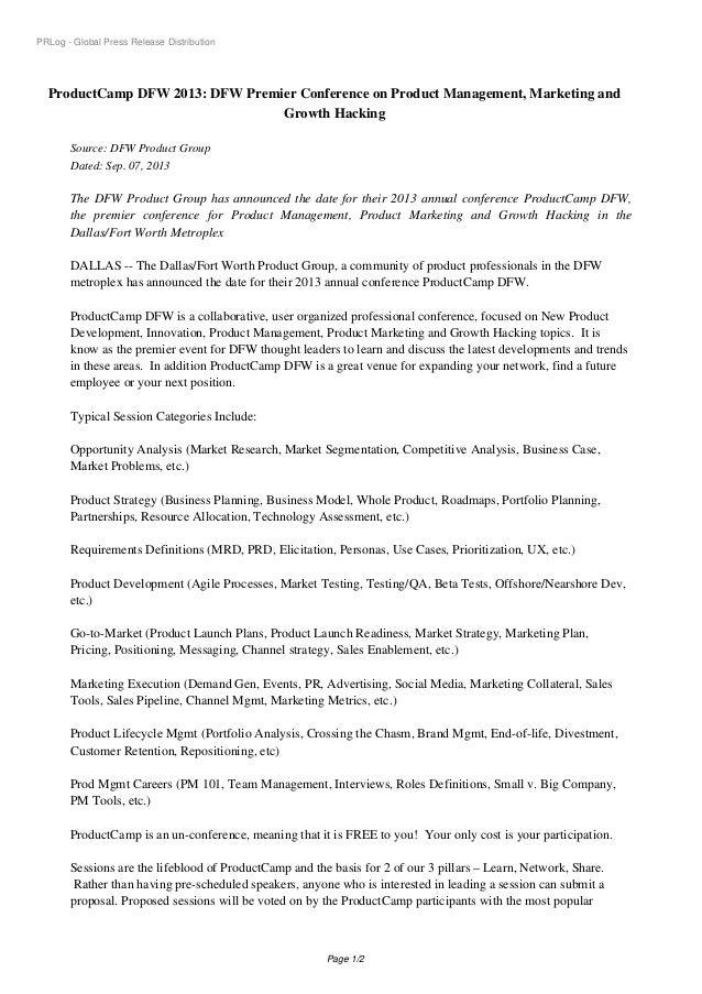 ProductCamp DFW 2013 Press Release