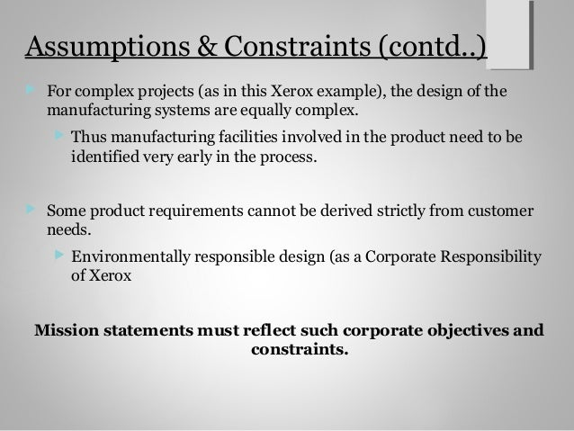 project constraints and assumptions essay example