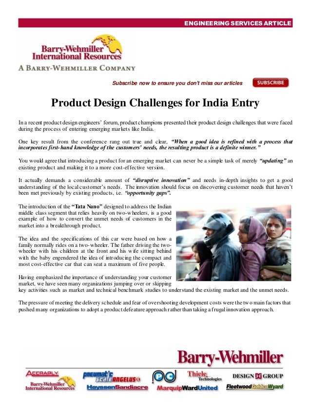 ENGINEERING SERVICES ARTICLESubscribe now to ensure you dont miss our articlesProduct Design Challenges for India EntryIn ...