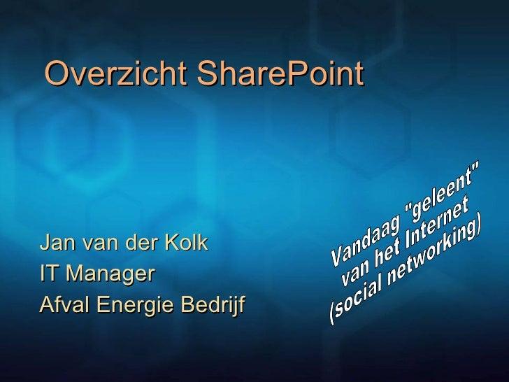 """Overzicht SharePoint  Jan van der Kolk IT Manager  Afval Energie Bedrijf Vandaag """"geleent""""  van het Internet (so..."""