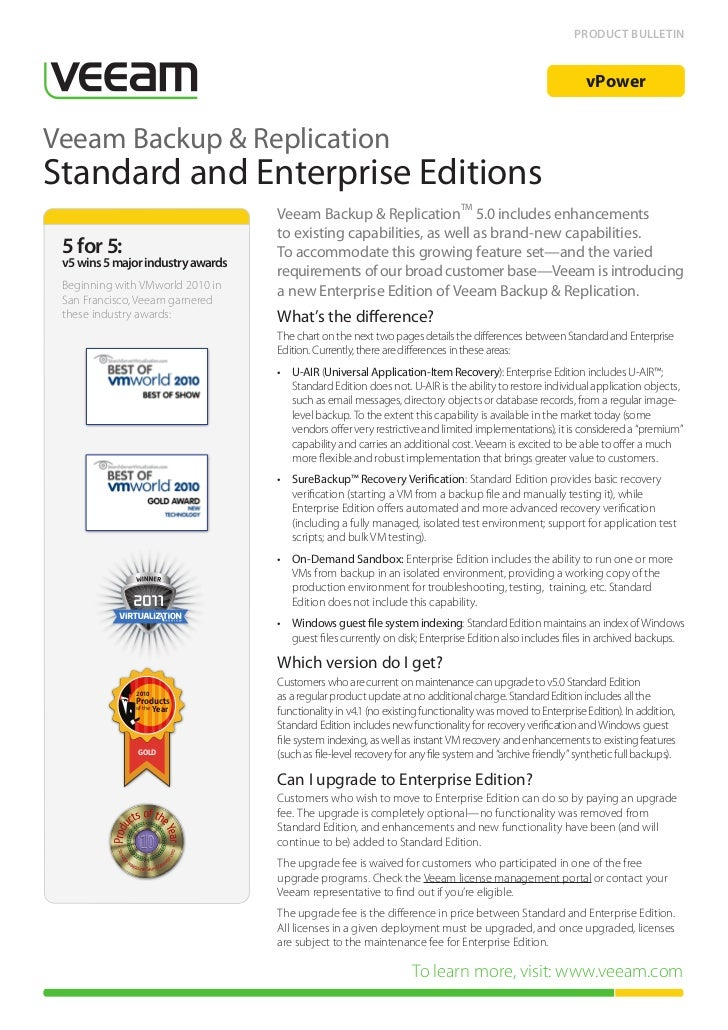 Veeam Product info -  Backup Standard vs. Enterprise Edition