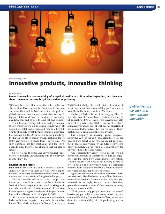 Product Innovation and Sustainability Ethical Corp June 2013