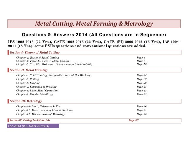 MetalCutting,MetalForming&Metrology Questions & Answers-2014 (All Questions are in Sequence) IES-1992-2013 (22 Yrs....