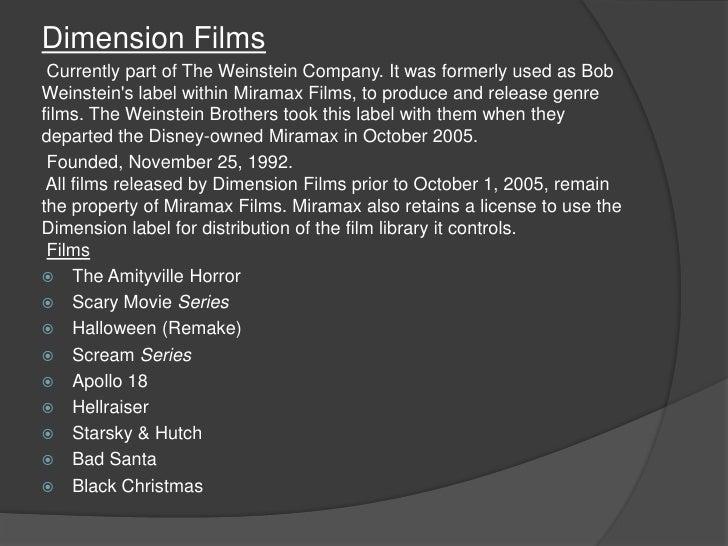 Dimension Films 1992 Dimension Films Currently Part