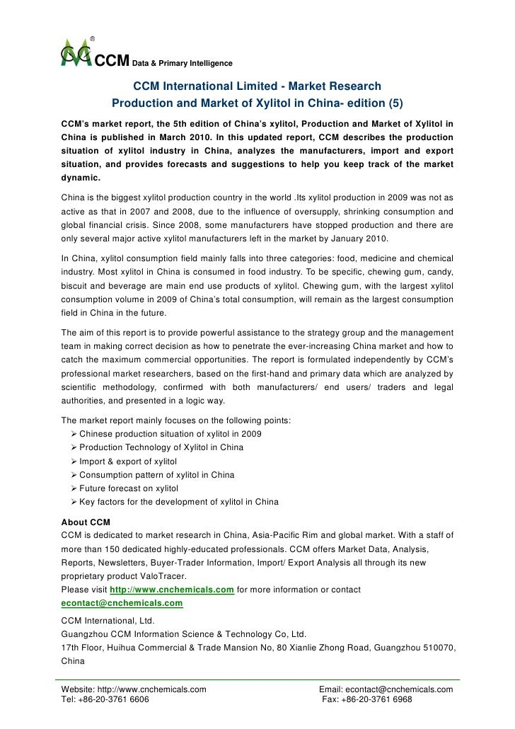 Production and Market of Xylitol in China  Edition (5)-CCM International Ltd