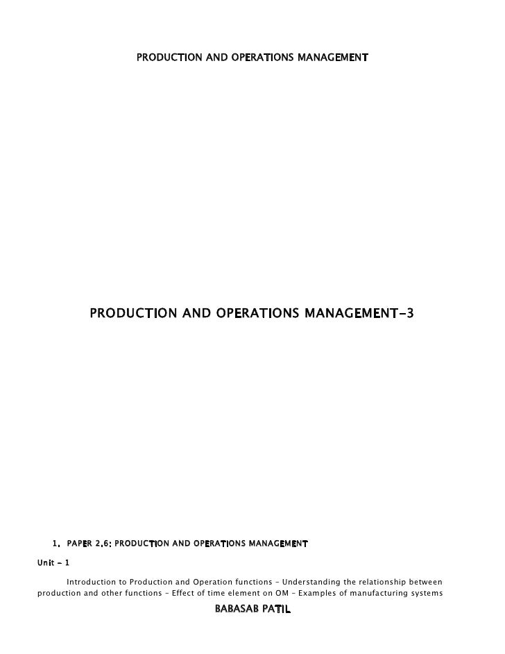 PRODUCTION AND OPERATIONS MANAGEMENT            PRODUCTION AND OPERATIONS MANAGEMENT-3   1. PAPER 2.6: PRODUCTION AND OPER...