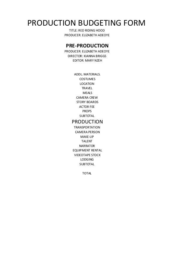 PRODUCTION BUDGETING FORM         TITLE: RED RIDING HOOD       PRODUCER: ELIZABETH ADEOYE        PRE-PRODUCTION       PROD...