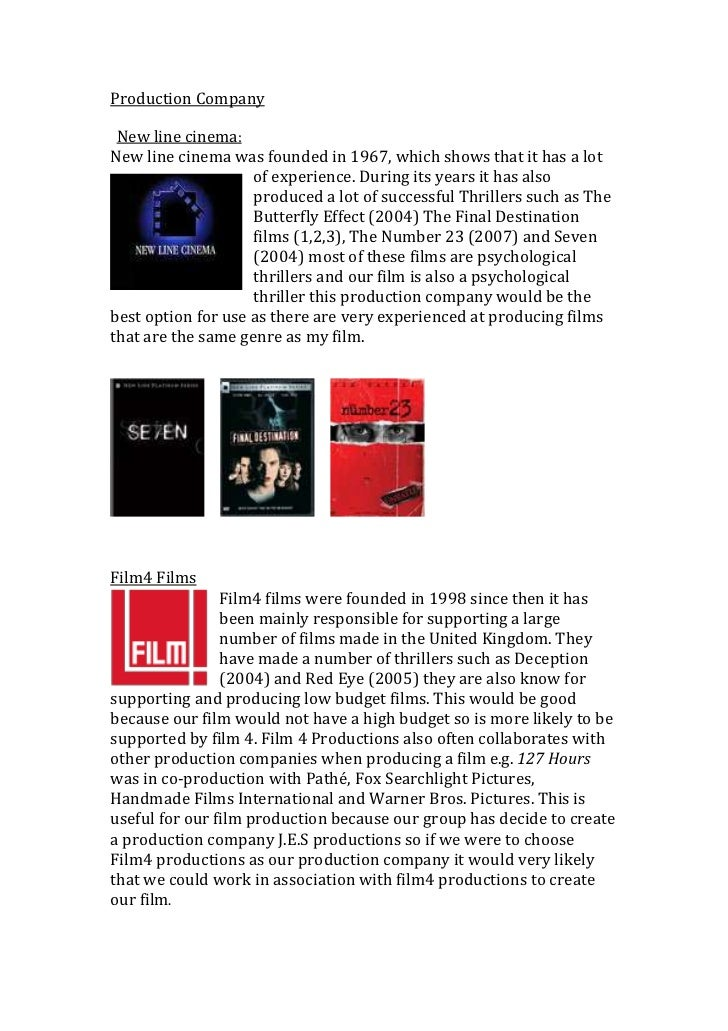 Production Company <br />  New line cinema: <br />0293370New line cinema was founded in 1967, which shows that it has a lo...