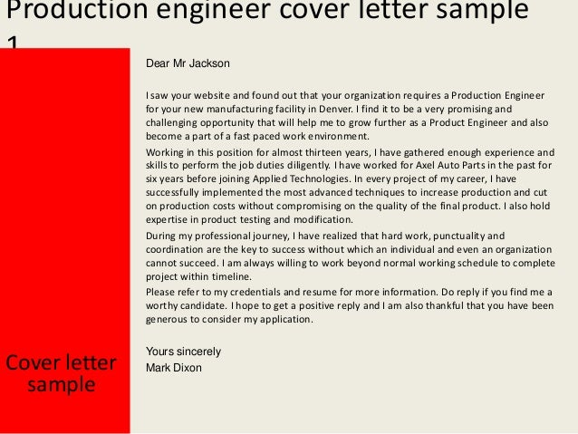 Production Engineer Cover Letter