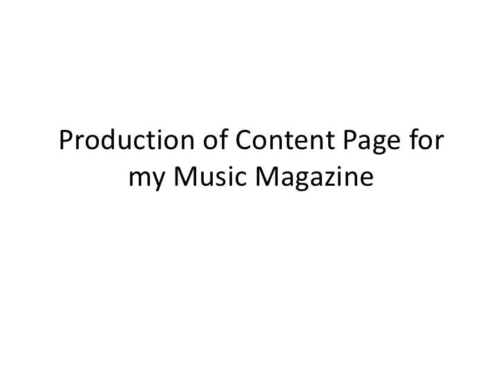 Production of Content Page for my Music Magazine<br />