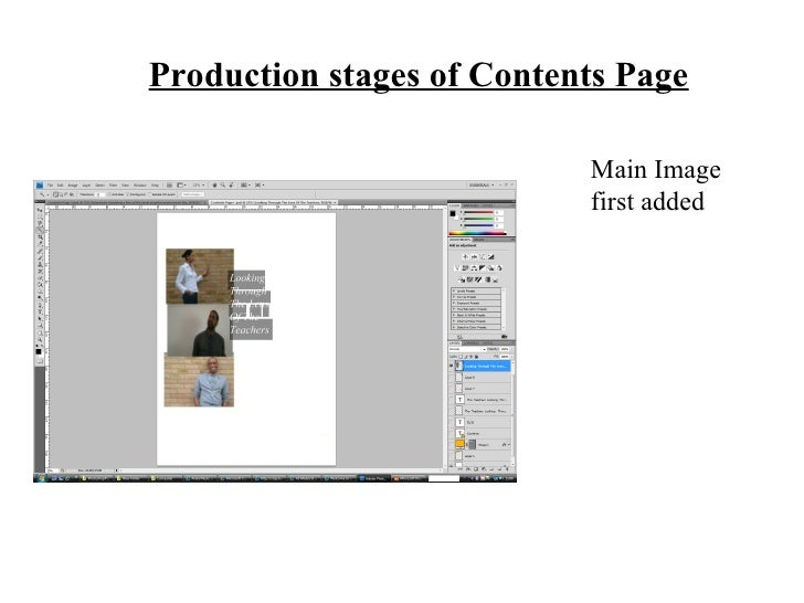 Main Image first added Production stages of Contents Page