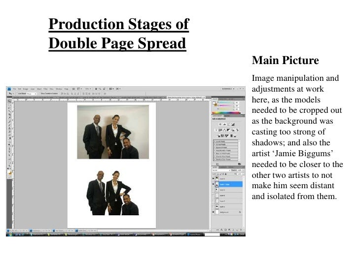 Production Stages of Double Page Spread                        Main Picture                        Image manipulation and ...