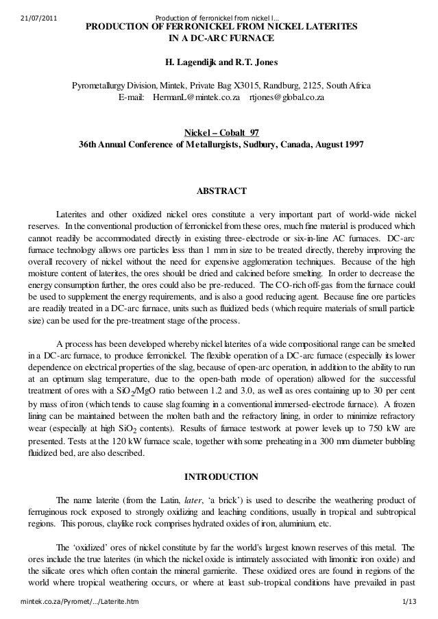 21/07/2011                             Production of ferronickel from nickel l…                   PRODUCTION OF FERRONICKE...