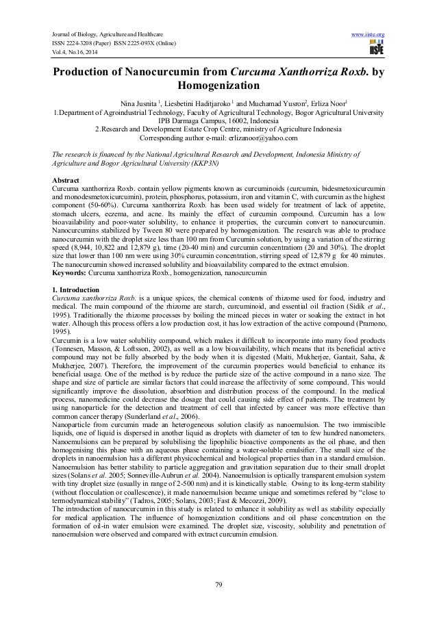 Production of nanocurcumin from curcuma xanthorriza roxb. by homogenization