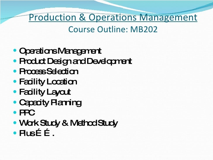 202 operations management