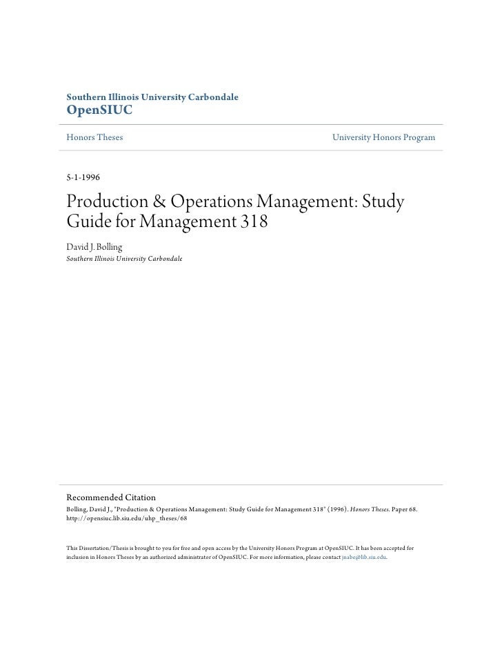 Production & operations management  study guide for management 31