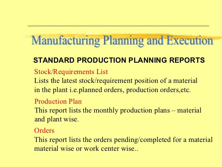 how to make production planning report